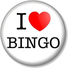 "I Love / Heart BINGO 25mm 1"" Pin Button Badge Gambling Hall Full House Dabber"