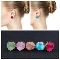 Raw Crystal Quartz Druzy Multi Color Natural Resin Stone Round Earrings Jewelry