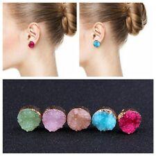 Raw Crystal Quartz Druzy Earrings Natural Resin Stone Round Multi Color Ear Stud