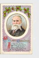 PPC POSTCARD MERRY CHRISTMAS HOLLY LOWELL POEM PORTRAIT EMBOSSED