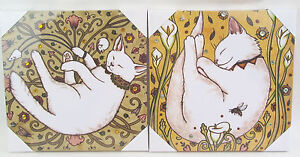 Cat Prints - Canvas - Quirky Fun Cats for your Wall Set/2