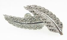 VTG Deco Marcasite Milgrain Feather Rhodium Sterling Silver Clip Earrings 6.8g