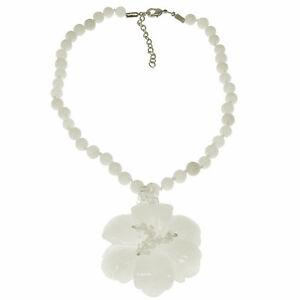 Semi-precious white agate stone chunky flower pendant bead stone choker necklace