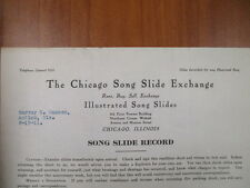 Vintage movie letterhead Chicago song slide exchange song slide record 8-15-1911