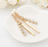 Ladies 18K Gold Filled Pearl Crystal Long Bar Drop Dangle Stud Earrings Wedding