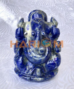 "3"" Blue Precious Lapis Lazuli Handmade Ganpati Ganesha God Small Sculpture G051"