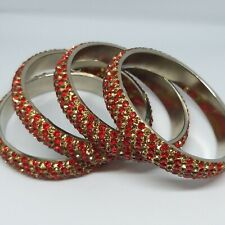 4X Bangles Bracelets Ethnic Asian with red stones No Box/ No Tags New Never Worn