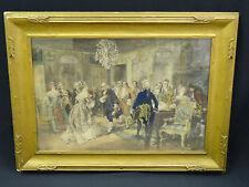 ANTIQUE HAND COLORED LITHO VINVENTE De PAREDES: Franklin at the Court of France
