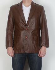 "Leather Fitted Jacket Small Medium 38"" Brown 70's (HBQ)"