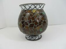 """Home Interiors & Gifts Mosaic Glass Hurricane Candle Holder Bowl 7"""" High #8475"""