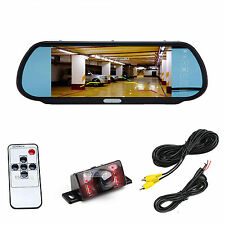 "7"" Rear View Mirror Monitor+Car Backup Wired IR Camera W/Distance Scale Line"