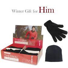 2 SETS MENS MEN THERMAL HAT AND GLOVES WARM WINTER GIFT UK