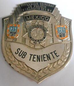 VTG OBSOLETE SUBLIEUTENANT TRANSIT AGENT POLICE BRASS BADGE MEXICO CITY DF 80s