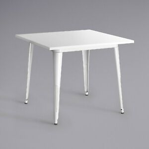 """24"""" Square White Metal Garden Patio Restaurant Dining Table For Outdoor Use"""