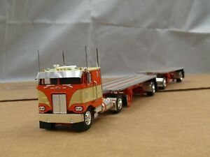 1/64 Dcp CUSTOM single axle orange/tan Peterbilt 352 w/double hay pups