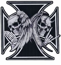 Maltese Angel & Devil Iron Reaper Cross Biker Big XL Embroidered Back Patch 10""