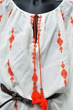 REDUCED - H & M BOHO COTTON EMBROIDERED SHIRT DRESS -NWOT - NINA STYLE  8 - 12