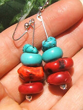 BIG TURQUOISE RED CORAL EARRINGS BLUE GEMSTONES SILVER BRONZE OR GOLD WIRE LONG