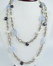 46 Inch sterling silver natural baroque pearl pale blue chalcedony necklace