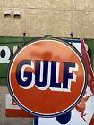 """VINTAGE GULF GASOLINE PORCELAIN 30"""" GAS OIL  STATION LARGE SIGN Inc METAL RING"""