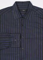 Z ZEGNA Blue/Black Striped Modern City Fit Cotton Dress Shirt (41) 16-35
