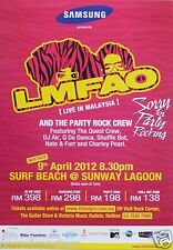 "LMFAO ""SORRY FOR PARTY ROCKING 2012 TOUR"" MALAYSIAN CONCERT POSTER-Hip Hop Dance"