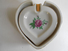4 VINTAGE CERAMIC ASHTRAY FLORAL HEART SHAPED IN TRAY