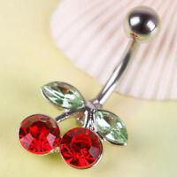 Pretty Rhinestone Red Cherry Navel Belly Button Barbell Ring Body Piercing PY