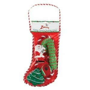 Holiday Surprise Stocking 5 Pack Dog Puppy Christmas Toys Toy Rope Ball Santa