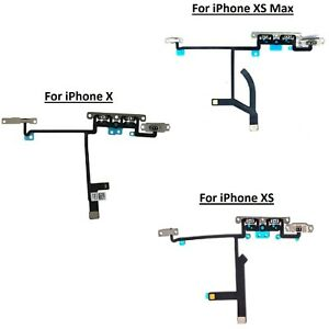 For iPhone X XS XS Max Volume Button Flex Cable Mute Switch With Metal Brackets