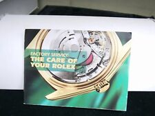 FACTORY SERVICE THE CARE OF YOUR  ROLEX WATCH  MANUAL BOOK