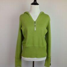 Sarah Spencer Sweater Hoodie Womens Large Pullover Italian Merino Wool Green