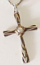 pendentif collier croix travaillé vintage argent 925 perle fine poinçon  4450