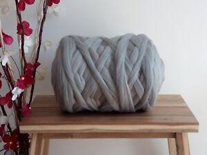 Grey* 100%  Merino Wool Giant Jumbo Yarn Extreme Big Arm Knitting, 100 g - 4 kg