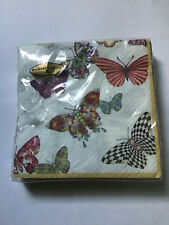 Package of 20 Mackenzie Childs Butterfly Garden Triple-Play Cocktail Napkins
