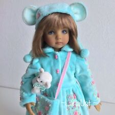 "Velvet outfit for doll Little Darling 13"". Coat, hat, bag, toys Bear and boots"