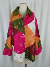 Toto N Ko Woman Silk Patchwork Embroidered Art to Wear Shirt Jacket Coat 2X Plus
