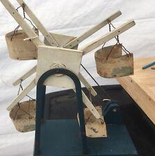 Primitive Antique Wood Crank Toy Ferris Wheel 4 Seats Folk Art Blue And White