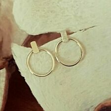 Genuine 9ct Hallmarked Solid Yellow Gold Bar And Circle Outline Stud Earrings
