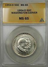 1954-D Booker T Washington Silver Half-Dollar Coin 50C ANACS MS-65 (9A)