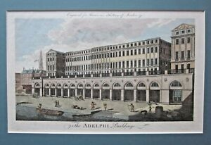 1775? Adelphi Buildings Antique Print Adam Bros Architecture Harrison London