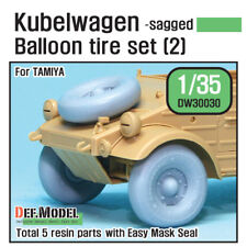 DEF. MODEL, WWII Kubelwagen Balloon Tire set (2)- sagged (for Tam, DW30030, 1:35