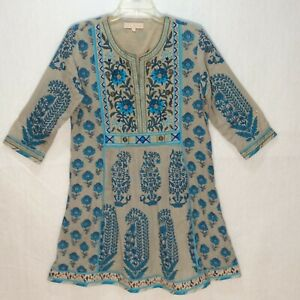 INDIAN VERY FAMOUS DESIGNER RITU KUMAR EMBROIDERY BLUE KURTA TOP Size S G970