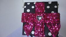 Betsey Johnson Gift Box Sequin Crossbody Purse bag white & black