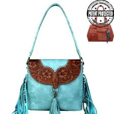 Montana West Concealed Carry Purse Fringe Tooled Leather Western Cowgirl Handbag