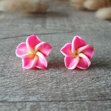 Pink Hawaiian Plumeria Frangipani Flower Soft Ceramic Clay Stud Earrings