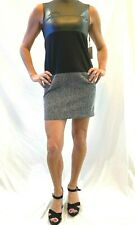 NEW CALVIN KLEIN Black Tweed Faux Leather Sleeveless Above the Knee Dress 4P