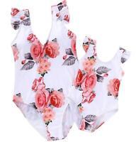 Mother Daughter Family Matching Floral High Waist Bikini Swimsuit Kids Swimwear