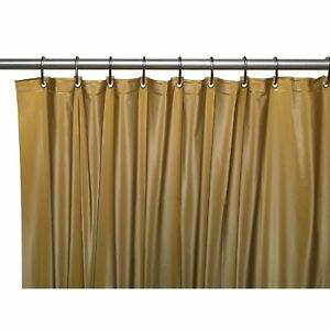 Carnation 3 Gauge Vinyl Shower Curtain Liner Weighted Grommets Gold 72 x 72