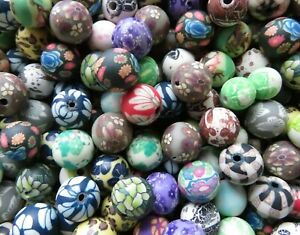 300+ Assorted Polymer Clay Beads - Great Patterns & Colors - 10 & 12mm Rounds